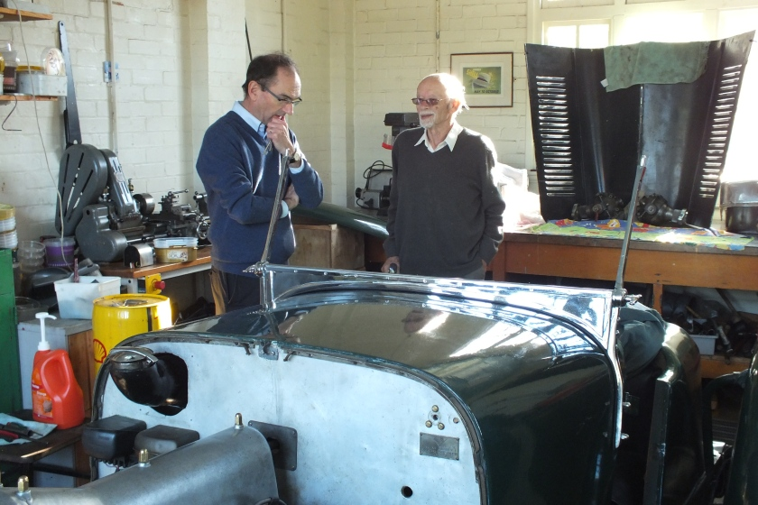John Pulford and Ken Day discuss the 1928 FWD restoration at Brooklands