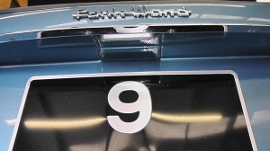 The unique recessed rear number plate panel and light