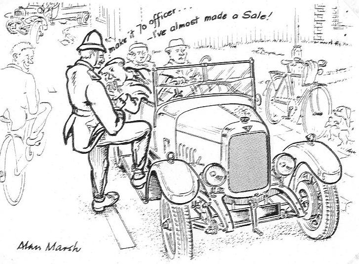 Retired Technical Illustrator Alan Marsh produced this quite delightful and pithy cartoon of an ALVIS speeding offence for the AOC Bulletin in 1991.