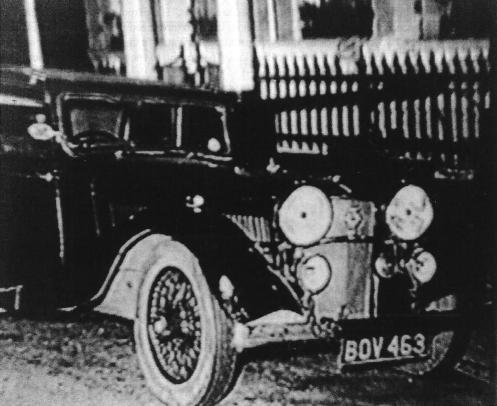 13054 BOV 463 outside the Onslow Court Hotel, Queenn's Gate London, probably the most infamous ALVIS car of all time.