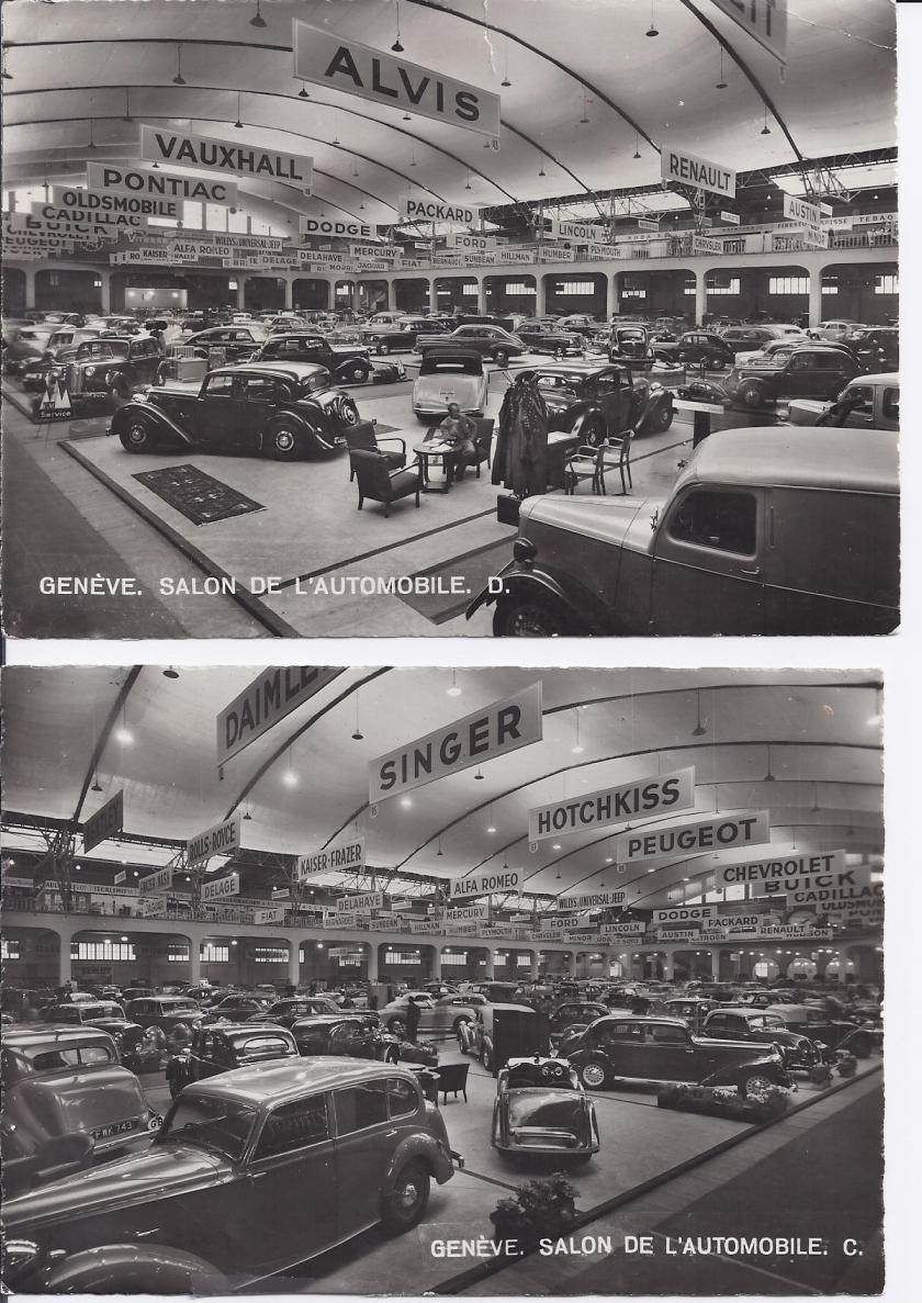 1947 First post-war continental car show Geneva (Frans was there). One of the pictures shows the Alvis Stand. If you combine the 2 pictures, with a little bit of imagination, you get an impression of the total show. Question: who built the TA 14 DHC seen from behind? Who has more pictures of the show?
