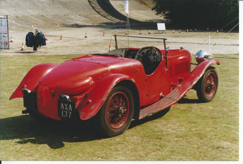 "This December 1933 registered 1934 model Speed 20 SB Competition 2-seater (chassis 10869) has a body by Arthur Mulliners, built for Freddie March. It was once owned by the comedian Al Read and his catch phrase ""right monkey"" used to be inscribed on the car. In 1956 it was bought by Hal Garner and unused from 1968 to 1999 when restoration started. It was later sold to a Belgian. Where is it now? Photo, Bill Fryer, Brooklands SE Alvis Day, 5th September 1999."