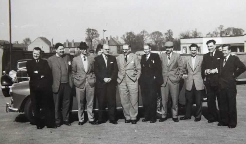 The Officials line up for a group photo in 1959 when the Club was just 8 years old. Ken Day, the General Secretary was coming up for 40. The cars were mostly just 20 years old but some were new. It was a different Club then