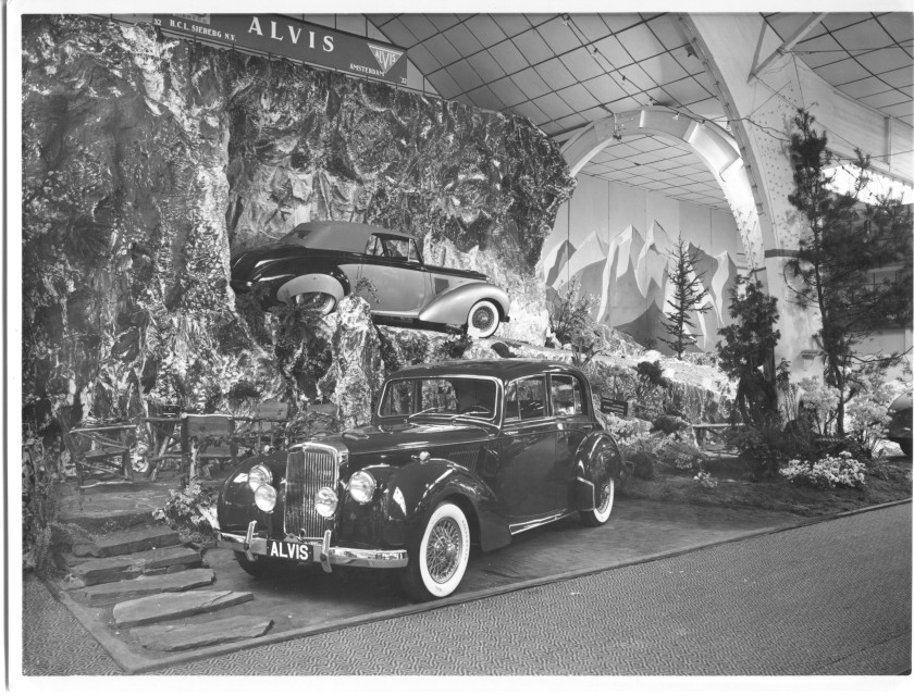 "The 1954 Amsterdam RAI car show Alvis stand. (Earlier published as centre spread in AOC Bulletin 485.) The Dutch importer was H.C.L. Sieberg (founded 1932) This was an unknown picture in the Alvis Owner Club Netherlands and we placed it on the front page of our bulletin ""Triangel."""