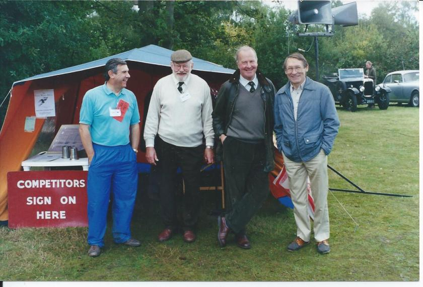 (l to r) Brian Maile (SE Section Secretary) Norman Whitton (President) John Wheeley (Chairman) and John Price Williams (Bulletin Editor) enjoying an Alvis Owner Club event in 1995