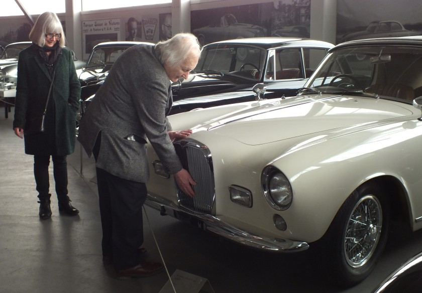 Tom Poole examines the last Graber Alvis made at the Pantheon. He owns the last Park Ward Alvis made.