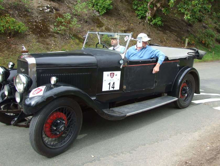 Entry No: 14 - Frances Galashan & Dan Geoghegan in the 1930 Silver Eagle Sports arriving at Bowhill on DAY 3 a few minutes after the Course Closing Car due to a few problems en route. Dan Geoghegan driving. Photo Arthur Fairburn