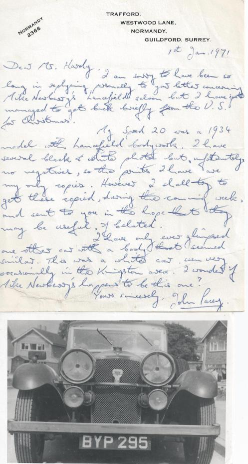 This letter and photo from the archives of the late Arthur Hardy (129SE) of Punchbowl fame, shows a letter from a previous owner of a Lancefield Speed 20 SC.  Does it survive?