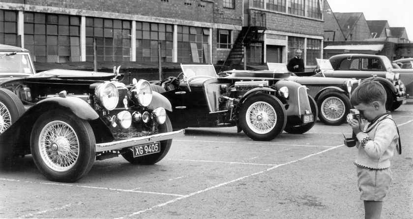 This is Midland Alvis Day, possibly 1968. XG9405 is a Speed Twenty with Lancefield coachwork. Maybe an SB, at the time it belonged to Olaf Lund who was the proprietor of Tillingham Street Garage in Birmingham. They were Alvis specialists. It was bought by an Austrian. The special behind was a beautifully finished Speed 25 of the late Bill Symons.