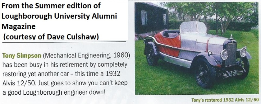 Fellow alumni Dave Culshaw (1961) writies of the car: This is a TJ model chassis 9226, car 14101 first delivered as a Cross and Ellis saloon on 11th December 1931 to a Brighton customer and registered there as UF 8638. A good history from new of this car and nice to see it preserved in a style similar to a 12/60 Beetleback.