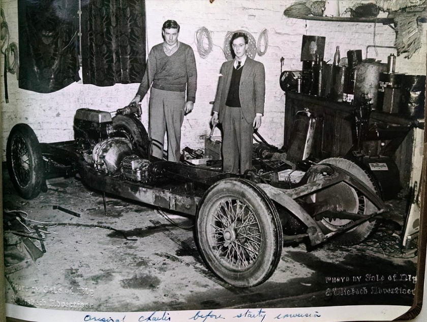 Brian, and friend with Firefly chassis in 1951. Note 'mechanics' clothes!!