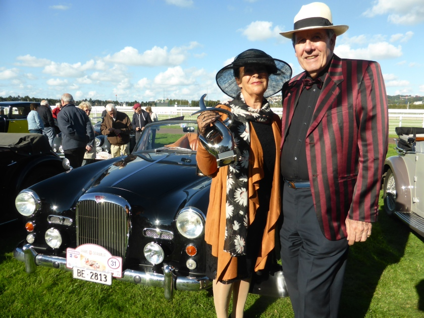New members Dominique and Verena Fischlin with their prize winning TD21 on the Pa.ris Deauville rally: award offered by Rolls Royce for the best preserved car.