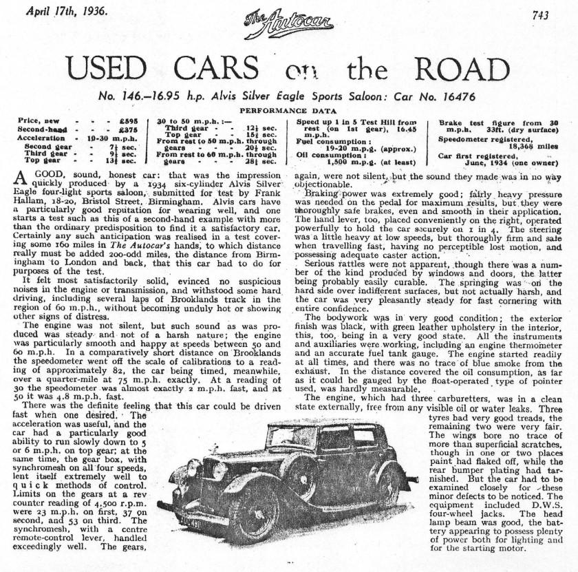 Used car on the road 1936 Silver Eagle Autocar